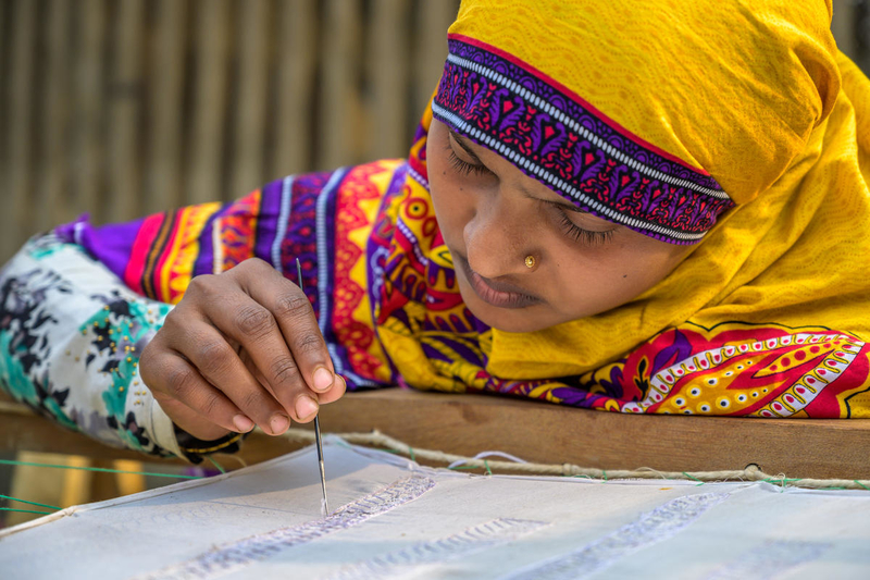 Moms in Bangladesh learn embroidery to raise income